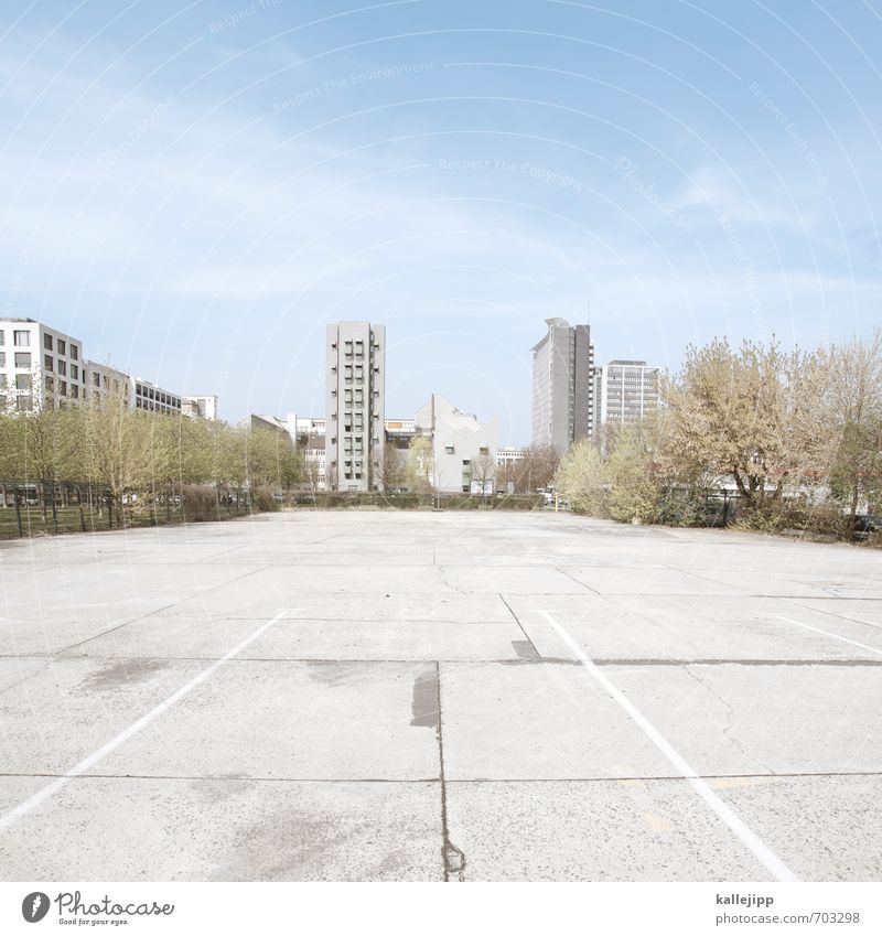 urban fields Town Skyline House (Residential Structure) High-rise Facade Parking lot Concrete Structures and shapes Free space Tree Berlin Sky blue Gray Blue