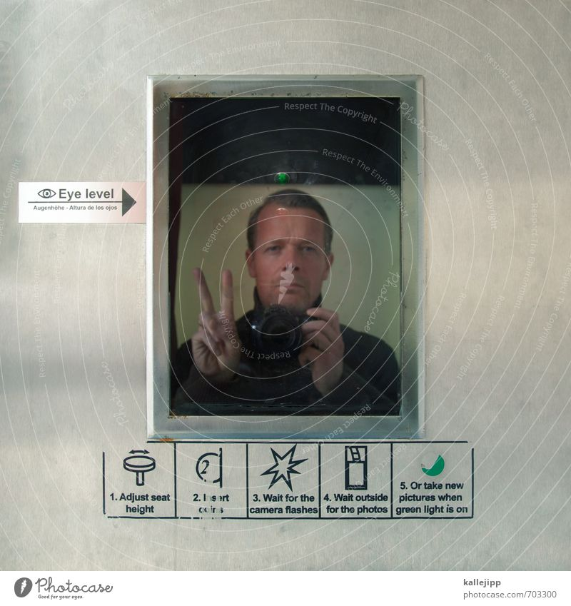 Human being Man Adults Head Masculine Success Fingers Retro Metalware Posture Symbols and metaphors Camera Hip & trendy Arrow Steel Symmetry