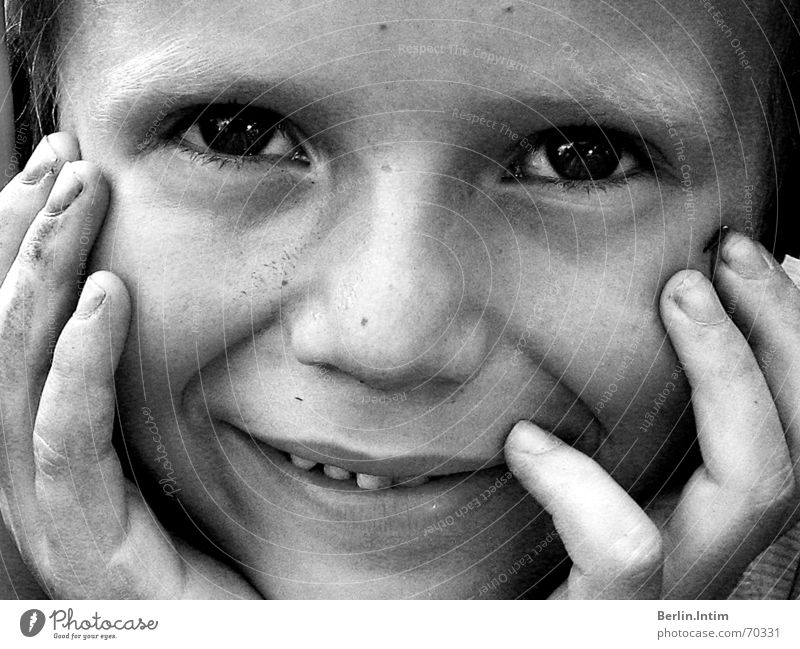 Put A Smile Upon Ur Face Black White Portrait photograph Child Hand Empty Boy (child) Laughter Eyes Gap Teeth