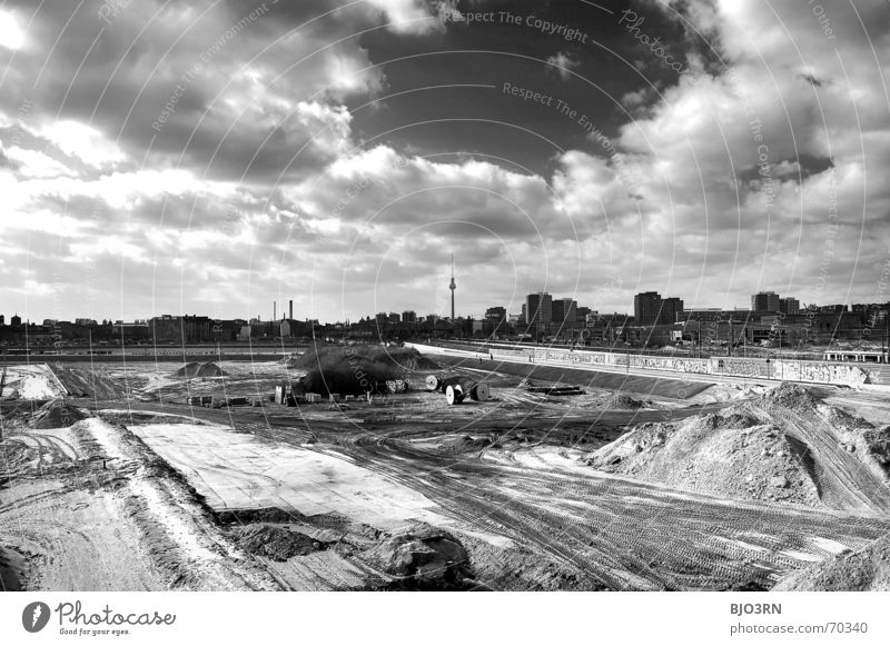 Sky City House (Residential Structure) Black Clouds Berlin Sand Vantage point Construction site Skyline Friedrichshain Kreuzberg Landscape format