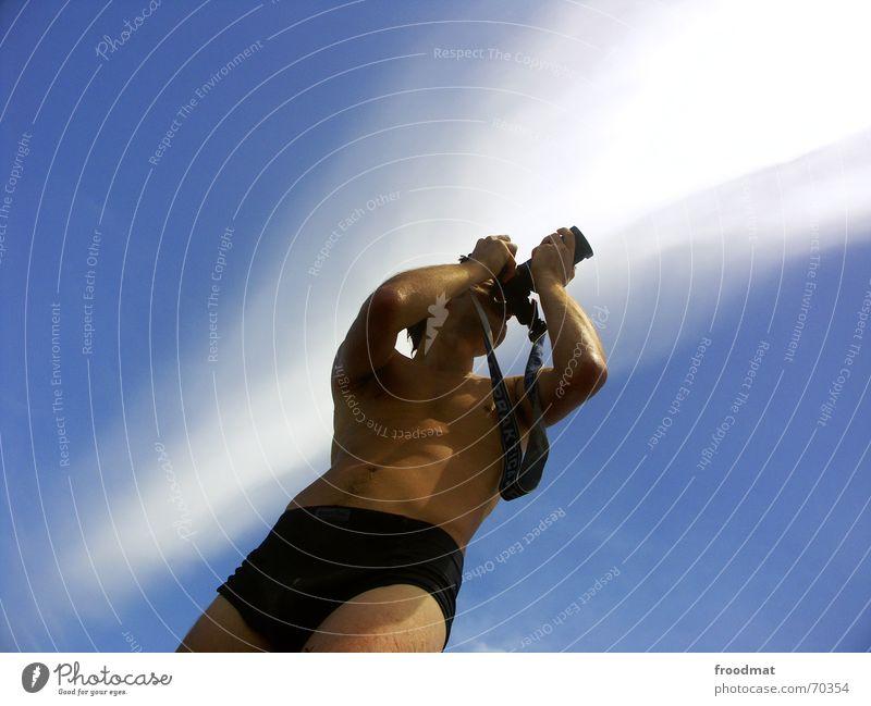 photographer Photographer Summer Take a photo Clouds Minimal Stripe Brazil Camera Sky Sun Shadow Blue Advertising clean