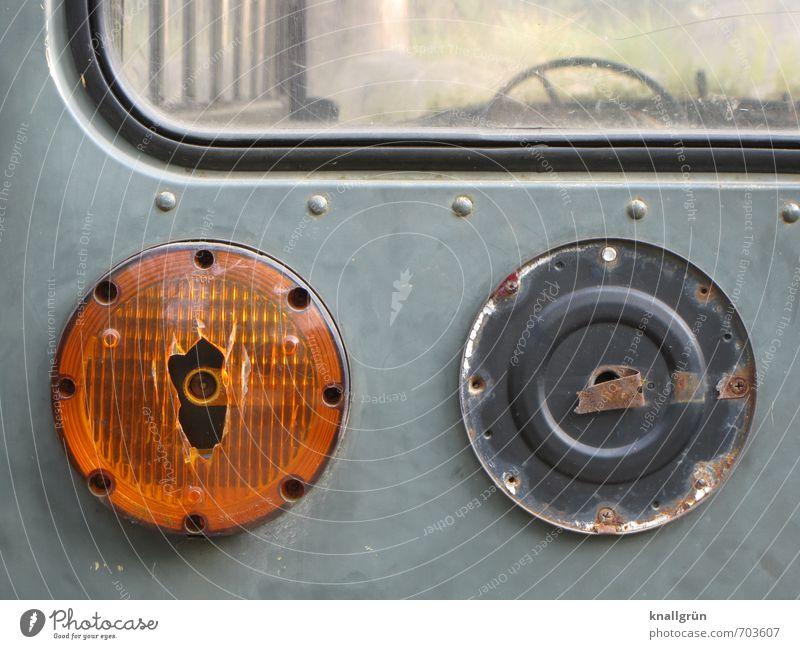 vintage car Public transit Motoring Vehicle Bus Vintage car Rear light Brake light Flash signal Steering wheel Car window seal Old Dirty Historic Broken Round