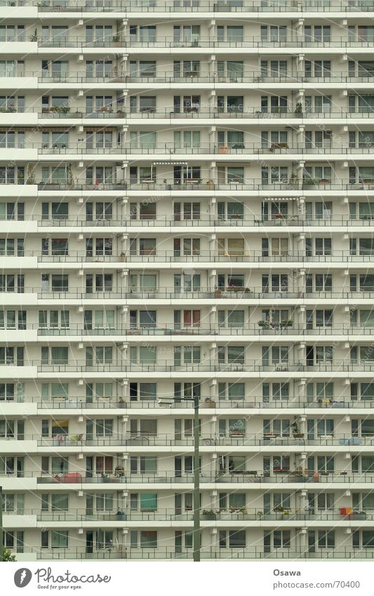 House (Residential Structure) Window Berlin Building Flat (apartment) Facade Modern High-rise Gloomy Manmade structures Balcony Story GDR Anonymous Direct