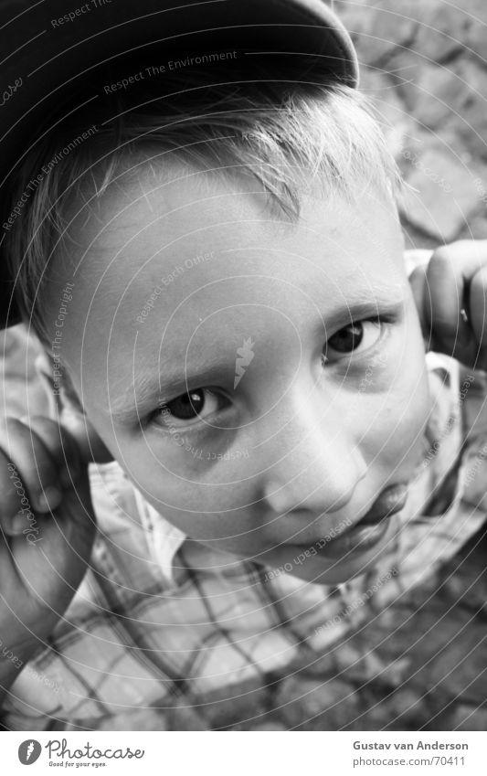 cheeky monkey Child Funny Funster Cap Shirt Blonde Black White Hand Childlike Boy (child) Brash Joy Laughter Street Eyes Mouth Nose Ear