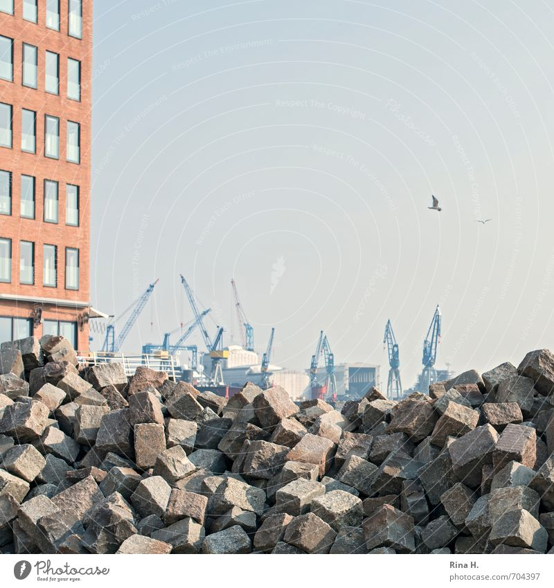 A lot to do Construction site Industry Hamburg High-rise Facade Harbour Authentic Paving stone Heap Crane Square Granite Pile of stones Colour photo