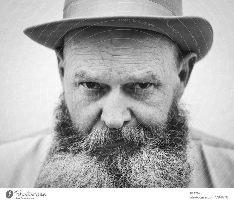 portrait Human being Masculine Man Adults Male senior Head Facial hair 1 45 - 60 years Old Authentic Black White Hat Looking Black & white photo Exterior shot