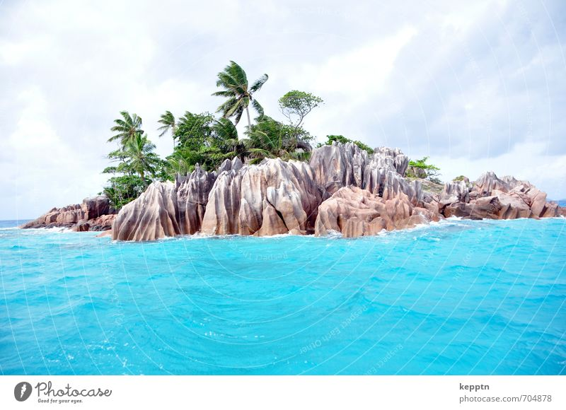 Vacation & Travel Blue Water Summer Ocean Landscape Clouds Beach Travel photography Coast Rock Wind Island Elements Paradise Turquoise