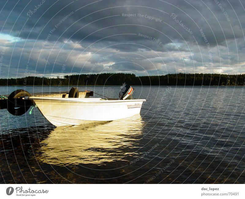 Calm Clouds Forest Lake Landscape Watercraft Waves Coast Weather Island Footbridge Smooth Illuminate Engines Finland