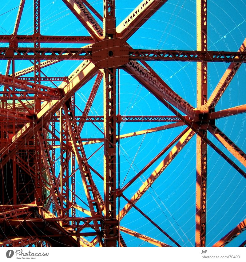 Sky Blue Red Metal Line Steel Upward Vertical Construction Symmetry Geometry Section of image Partially visible Prop Steel carrier