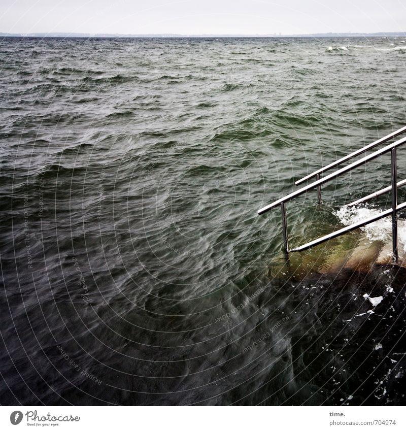 Watermark | Power bath with exit aid Horizon Waves Coast Baltic Sea Ocean Port City Bridge Manmade structures Architecture Sea bridge Banister Stairs