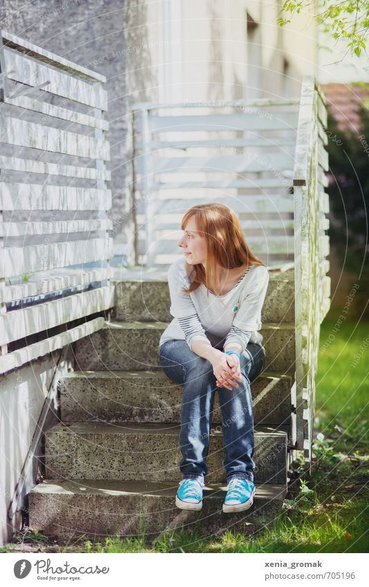 on the stairs Leisure and hobbies Vacation & Travel Summer Sun Living or residing Garden Human being Feminine Young woman Youth (Young adults) Woman Adults Life