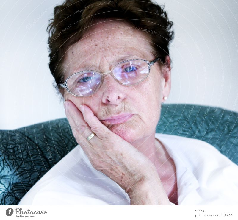 why so sad omilein? Grandmother Senior citizen Sweet Cute Eyeglasses White Green Portrait photograph Lovely Hand Fingers Freckles Lips Desire granny sixty Face