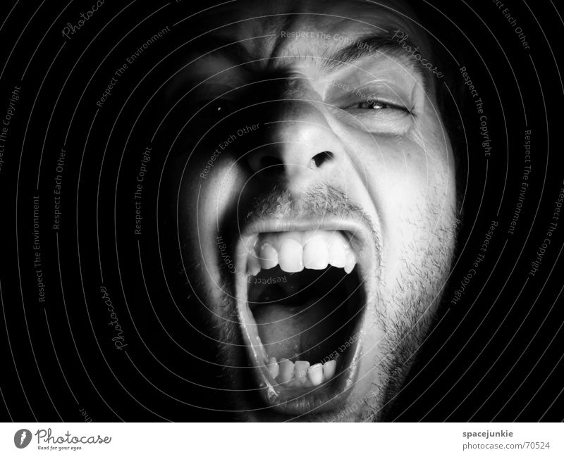 SHOUT Portrait photograph Man Freak Fear Alarming Scream Dark Black Show your teeth Evil Crazy Human being Face Force Black & white photo