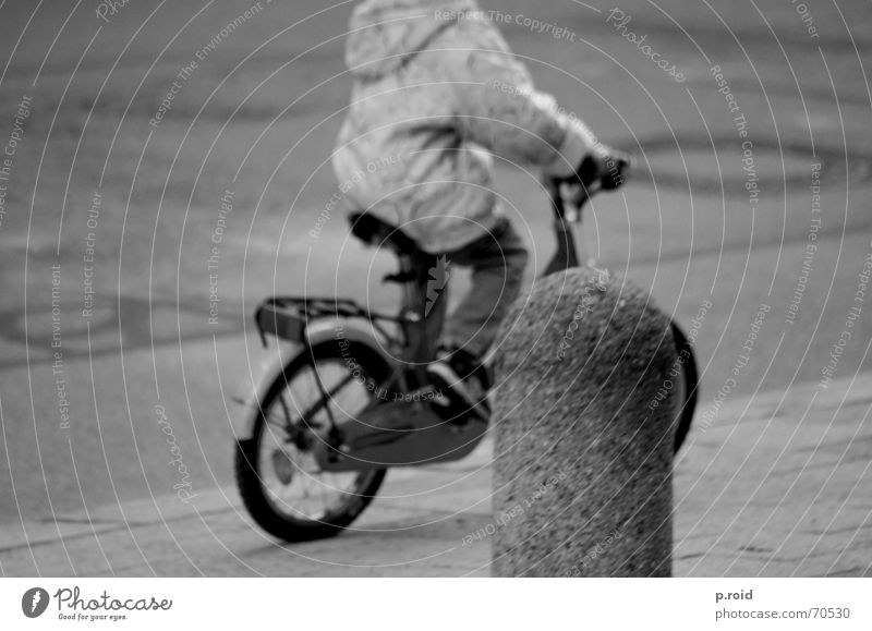 headless. Bicycle Child Town Sidewalk Asphalt Light heartedness Spontaneous Black & white photo Playing pavement children childhood Snapshot