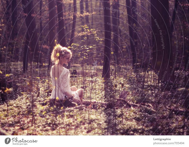 you - my own piece of paradise Human being Young woman Youth (Young adults) 1 18 - 30 years Adults Nature Spring Beautiful weather Tree Forest Dress Accessory