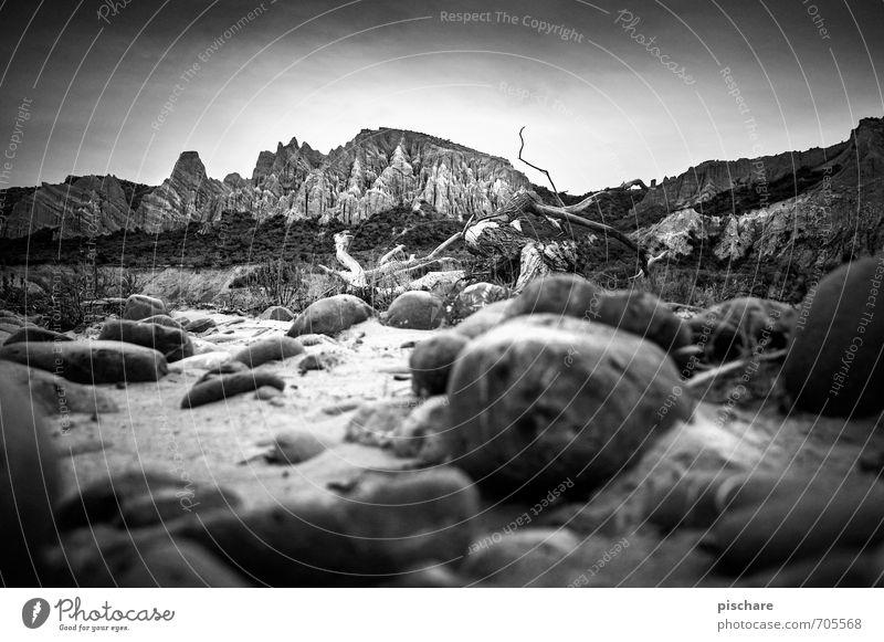 clay cliffs Nature Landscape Rock Mountain Dark Thorny Adventure Vacation & Travel New Zealand Sandstone Black & white photo Exterior shot Day Sunlight