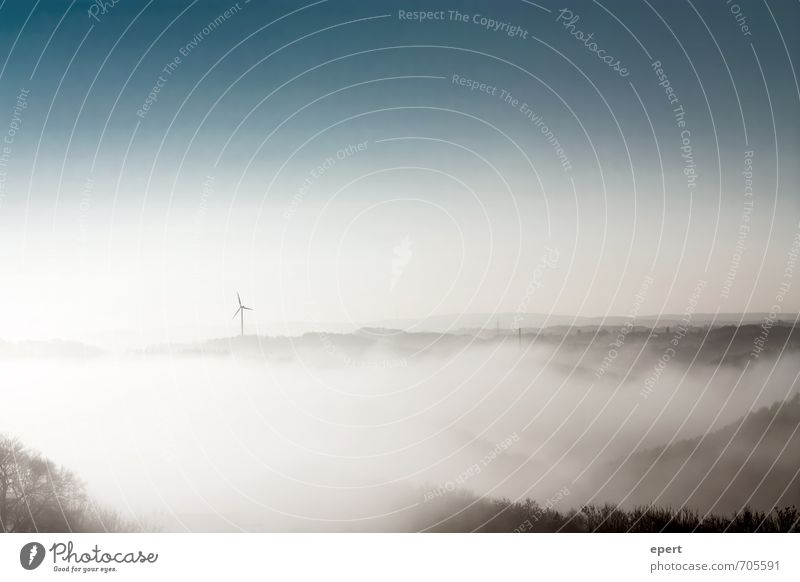 View from Caradhras Wind energy plant Nature Landscape Sky Weather Fog Tree Forest Hill Mountain Esthetic Infinity Soft Calm Moody Environment Far-off places