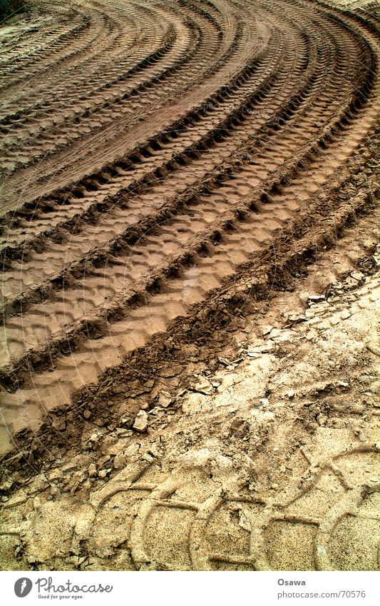 Sand Gloomy Tracks Truck Curve Tire Tire tread Impression Sublime Skid marks