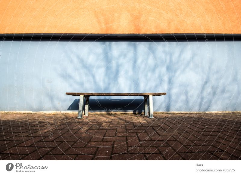 unmanned Town House (Residential Structure) Wall (barrier) Wall (building) Lanes & trails Blue Orange Expectation Bench Colour photo Exterior shot Deserted Day