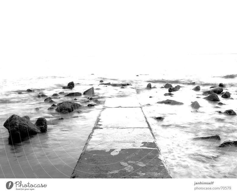 footbridge Footbridge Ocean Lake Gray Black Negative Hope Vacation & Travel Loneliness Waves Gloomy Gale Passion Dark Borkum sea Rock Stone wheat Freedom End