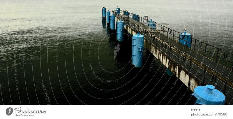 Water Ocean Blue Calm Loneliness Gray Horizon Gloomy Footbridge Jetty Baltic Sea Seagull Ferry Bollard Sellin