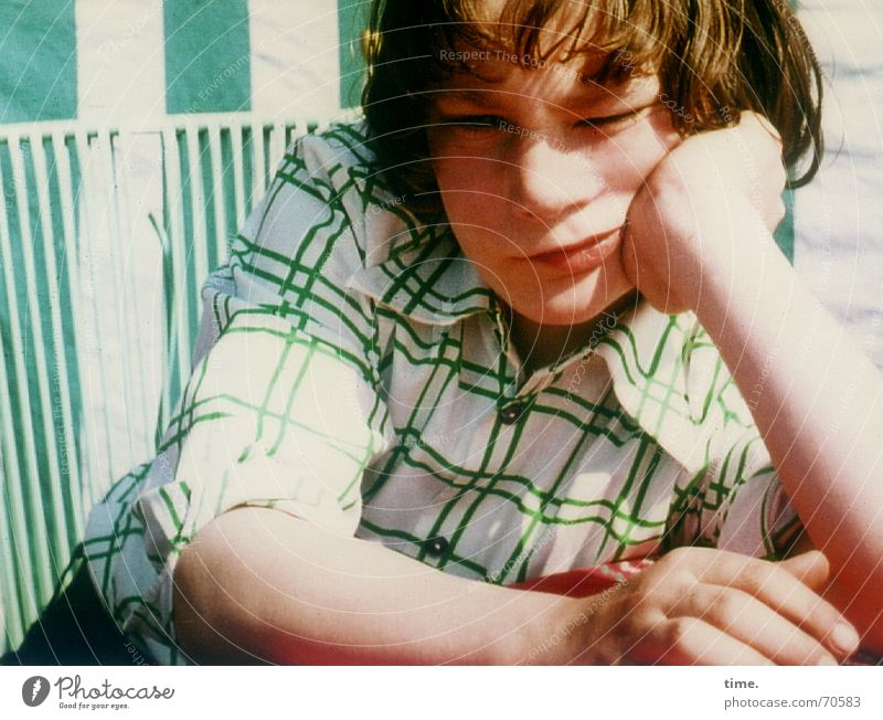 Lot with tofreden Colour photo Exterior shot Face Boy (child) Youth (Young adults) Aggravation Bad mood Former dissatisfied rumble Indifference does not want