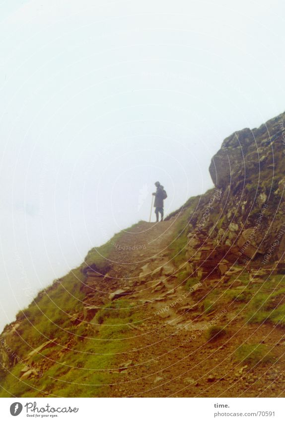 Skywards Colour photo Exterior shot Mountain Hiking Nature Fog Rock Loneliness Perspective Scotland Gravel Search Former Events Slope Downward Upward