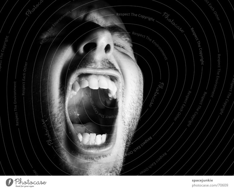 SHOUT (2) Portrait photograph Man Freak Fear Alarming Scream Dark Black Show your teeth Evil Crazy Human being Face Force Black & white photo