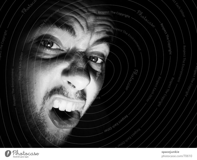 SHOUT (3) Portrait photograph Man Freak Fear Alarming Scream Dark Black Show your teeth Evil Crazy Human being Face Force Black & white photo