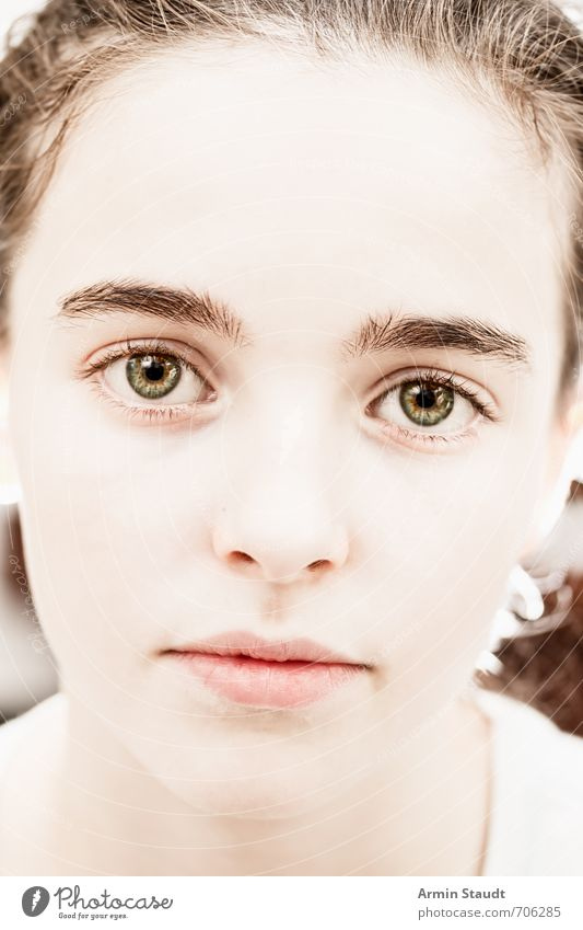 Pretty close portrait Human being Feminine Youth (Young adults) Face 1 13 - 18 years Child Brunette Esthetic Authentic Beautiful Uniqueness Soft Emotions Moody