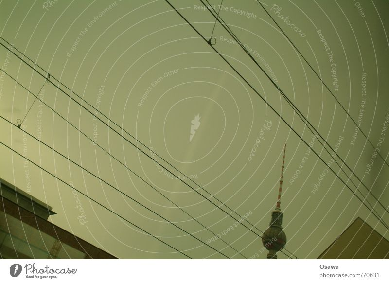 Sky Berlin Window Building Electricity Cable Roof Tower Berlin TV Tower Overhead line