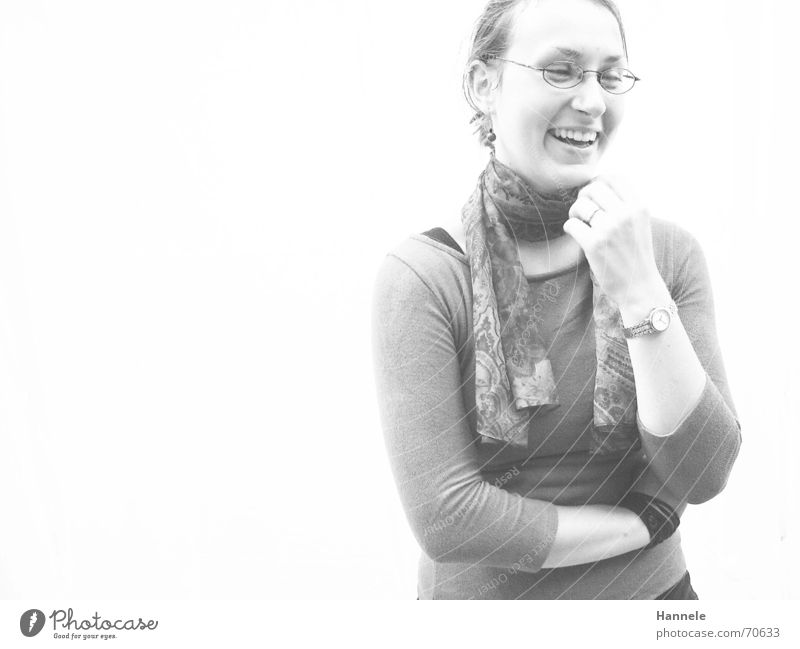 Judith Woman White T-shirt Friendliness Eyeglasses Scarf Happiness Laughter white wall Black & white photo sympathetic Open Rag Joy happy