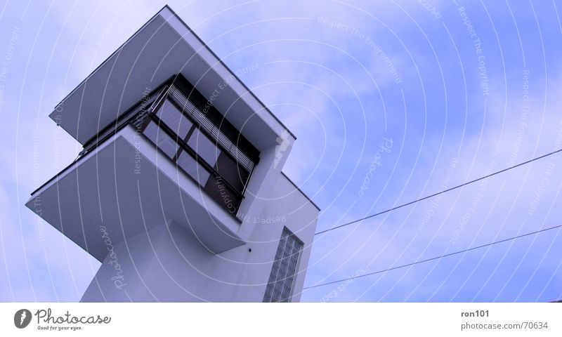 Sky White Blue Clouds Window Building Electricity Tower Airport Train station Surveillance Watch tower