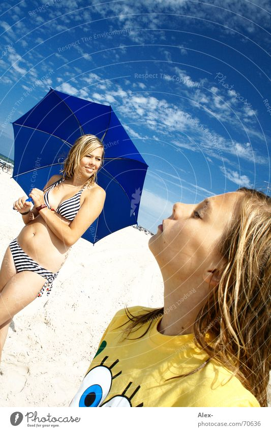 Woman Child Family & Relations Girl Sky Sun Blue Summer Beach Vacation & Travel Happy Dream Warmth Sand Happiness Physics