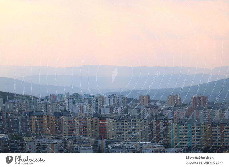 Panorama of prefabricated buildings Cluj-Napoca Romania Europe Town Skyline High-rise Old Poverty Blue Pink Moody Distress Adventure Society Horizon Life