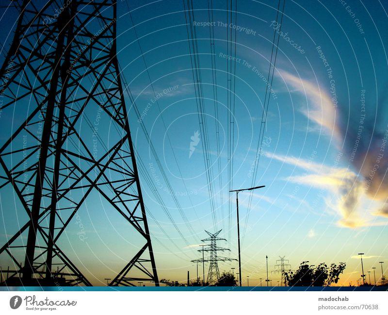 Sky Blue Clouds Large Electricity Lantern Goodbye Electricity pylon