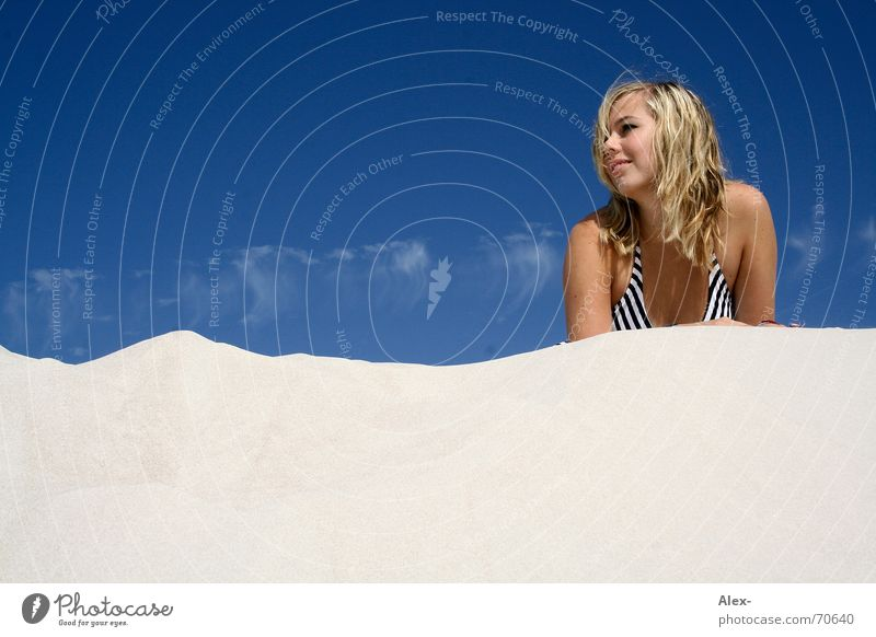 Sand clock Relaxation Vacation & Travel Beach Clouds Woman Physics Lie Sky Warmth Beach dune Laughter Happy