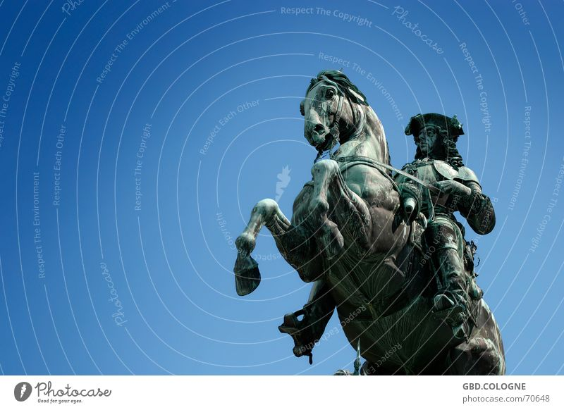 Old Blue Art Horse Monument Beautiful weather Ancient Vienna Blue sky Tourist Attraction Hofburg