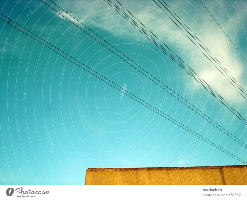 Sky Blue Clouds Yellow Style Building Line Orange Turquoise Illustration Transmission lines Graphic