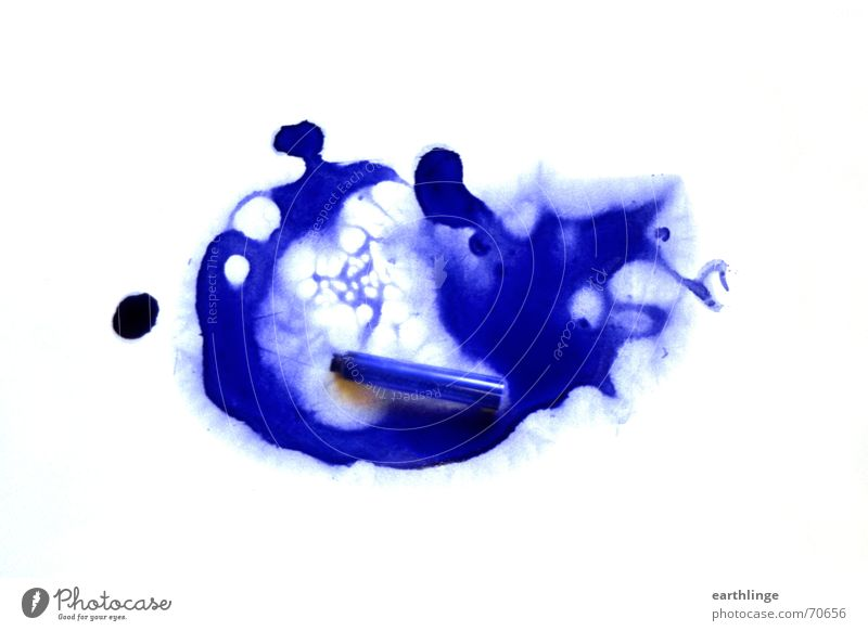 Pelican done Ink Spilled out White ink cartridge Patch Blue royal blue Husk Adversity Bright background Patch of colour Ultramarine blue Abstract Cartridge