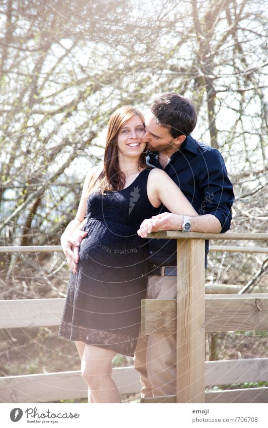 lovely Masculine Feminine Young woman Youth (Young adults) Young man Adults 2 Human being 18 - 30 years Happiness Beautiful Pregnant Lovers Embrace Laughter