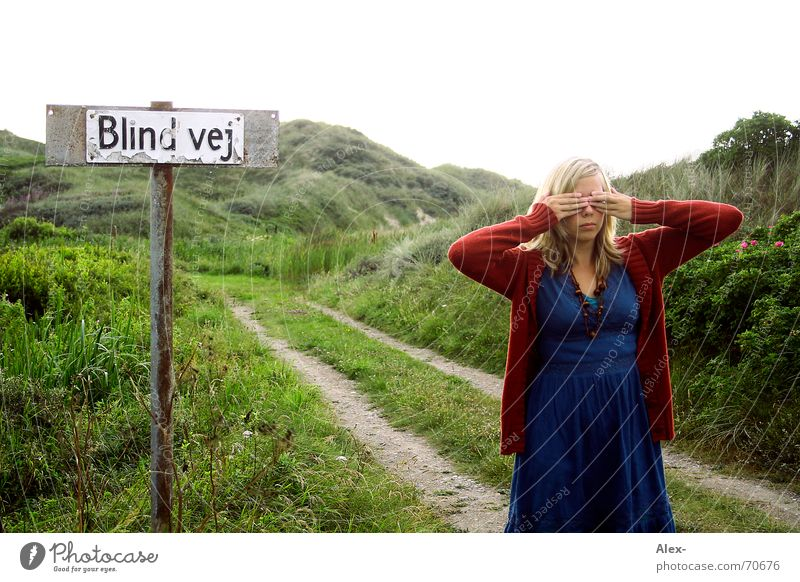 Blind cow Black Dark Light Handicapped Woman Ecological Hippie Dress Tracks Looking Lanes & trails Street Blue Nature Landscape Denmark Beach dune blokhus Eyes