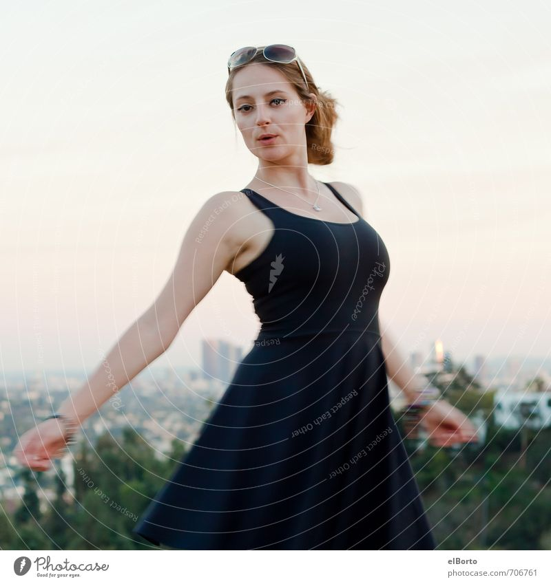 whirlwind Elegant Style City trip Human being Feminine Young woman Youth (Young adults) Adults Body 1 18 - 30 years Sunrise Sunset Skyline Fashion Dress