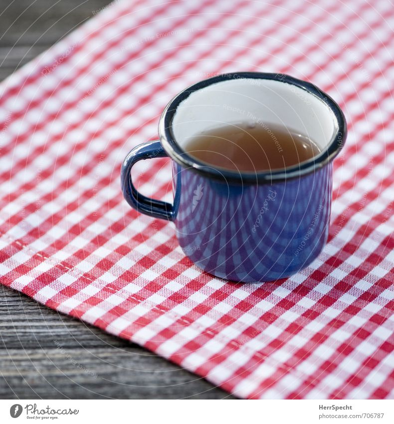 Teatime on diamonds Beverage Drinking Hot drink Cup Trip Wood Metal Cute Retro Blue Red White Checkered Tablecloth Enamel Wooden table Tea cup Break Refreshment