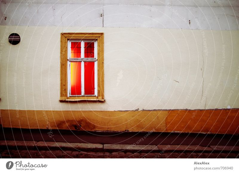 City Red Eroticism Loneliness House (Residential Structure) Dark Window Wall (building) Style Wall (barrier) Illuminate Authentic Sex Retro Transience Footpath