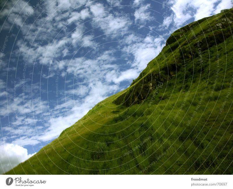 Nature Sky Green Blue Summer Clouds Meadow Grass Mountain Warmth Crazy Physics Idyll Hill Diagonal Brazil