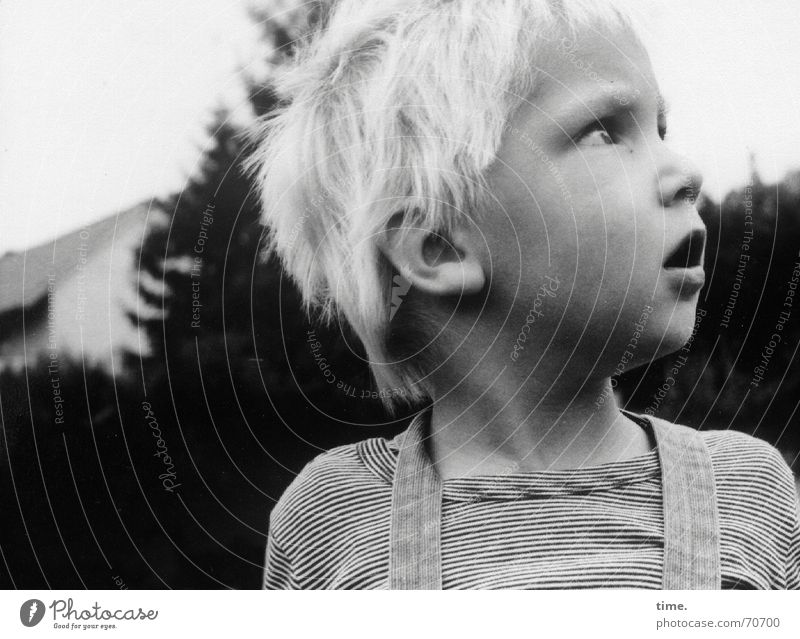 Can't I stay a little longer? Black & white photo Exterior shot Face Boy (child) Blonde Watchfulness Amazed Former topsy-turvy Ask