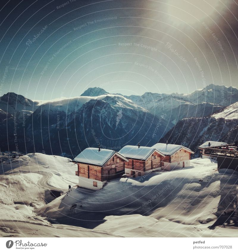 Switzerland Relaxation Calm Vacation & Travel Winter Snow Winter vacation Mountain House (Residential Structure) Winter sports Skiing Sun Beautiful weather