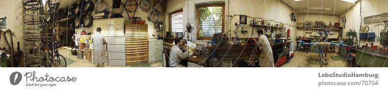 workshop Workshop Work and employment Panorama (View) Bicycle Tool Interior shot Artificial light Large Panorama (Format)