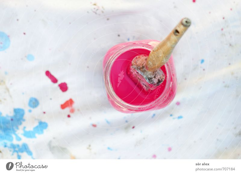 rest Work and employment Painter Craft (trade) Construction site Painting (action, work) Blue Pink Effort Creativity Paintbrush Containers and vessels White